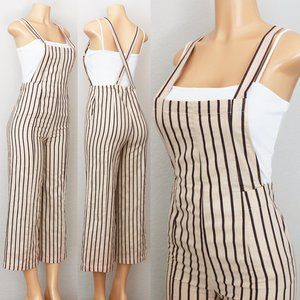 NEW Striped 100% Cotton Cropped Overall Jumpsuits